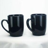 Set of 2 Royal Norfolk Classic Black Stoneware Coffee Mugs Tea Cups 12 oz