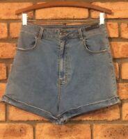 Rusty Women's Denim High Rise Stretch Waist Shorts Rolled Hems Size 12 BNWT