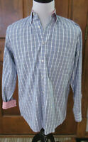 PAUL & SHARK YACHTING MENS XL BLUE WHITE RED CHECK L/S BUTTON FRONT SHIRT ITALY