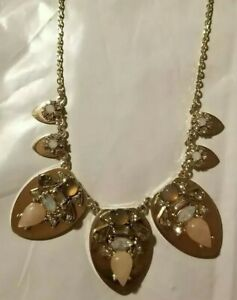 LOFT Vintage long 36 fashion necklace gold tone with clear and yellow faceted glass