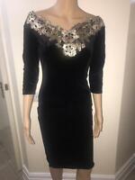 £40 NEW QUIZ Black Velvet Bardot Gold Embroidered Midi Dress 8,10,12,14,16