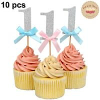 ⭐10pcs 1st Gold Silver Glitter Cake Topper for Birthday Cake and Cupcake Decora⭐