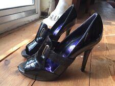 ❤ Sexy FAITH Cooture Black Patent Peep Toe Stiletto Heels UK6 Work Party RRP£70