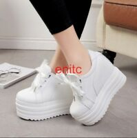 Womens Platform Wedge 15cm Heel Lace Up Pumps Casual Sneakers Creeper Shoes SZIE
