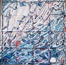 """Authentic Hermes Silk Scarf 90cm 35"""" De la Mer au Ciel Blue White Orange NEW!"""