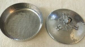 HAMMERED ALUMINUM COVERED DISH-HAND WROUGHT w/ Tulip Lid- Rodney Kent #401
