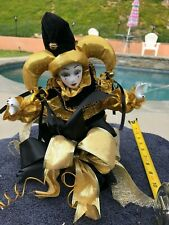 Musical Melody Moving Porcelain Harlequin Clown Jester Drum Box by Artico Gold