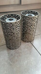 Pair Of Brushed Brass Metal Easy Fit Lampshades Lamp Or Ceiling