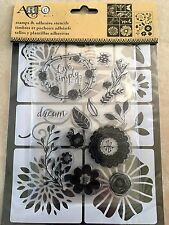 Art-C Clear Acrylic Stamp & Adhesive Stencil Set Flowers & Bugs 22-pc NEW