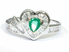 0.74ct Colombian Emerald & Diamond Diamond Ring in 18k White Gold
