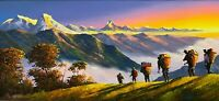 """MOUNT ANNAPURNA RANGE VIEW FROM POON HILL ORIGINAL ACRYLIC PAINTING  22"""" x  52"""""""