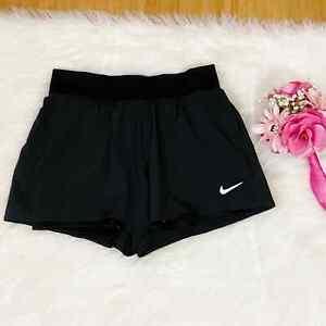 Nike Women's Small Court Dri Fit Black Victory Tennis Shorts Slim Fit