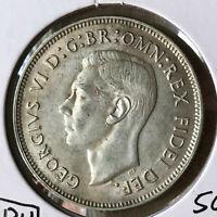 1951 Australia 1 Florin King George VI Silver Coin UNC/BU Condition