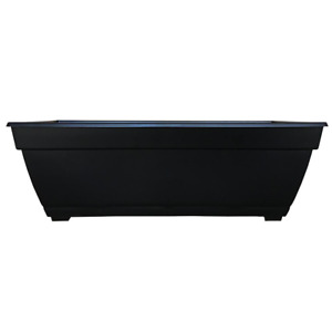 Black Resin Planter or Flower Pot, Deck Box, Outdoor, 26.85 x 12 in.