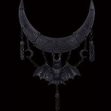 RESTYLE ORIENTAL BAT MATTE BLACK STYLE NECKLACE. CRESCENT MOON. VICTORIAN.