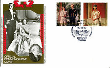 TUVALU FUNAFUTI 1987 QUEEN 40th WEDDING ANNIVERSARY $1.20 $1.75 FIRST DAY COVER
