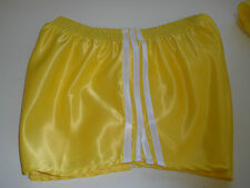 Retro Nylon Satin Football Shorts S to 4XL, Yellow - White