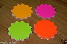 """Lot Of 100 Star Burst 3"""" Round Sign Cards 4 - Colors Retail Store Supplies"""