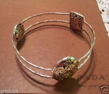 "Silpada Sterling Silver, Bronze ""Romance Novel"" Bangle Bracelet B2415 New!"