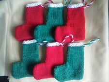 Christmas Stockings Hand Knitted /Advent Calendar 3x Red & 3x Green Free UK P&P