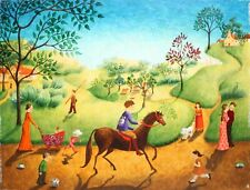 CLAUDE KAISER-French/Israeli Artist-Original Signed Oil-Naive Style Countryside