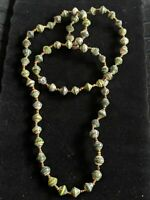 Artisan Green Distressed Gold Tone Paper Bead Statement Necklace