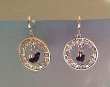 Handmade Earrings Hoop Silver Red/Black Beads, Fashion Ethnic Tribal