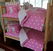 "Doll Bunk Bed Stackable & 10 PC Complete Bedding For 18"" Girl Doll American Made"