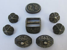 ANTIQUE VINTAGE SEWING MARQUETRY HANDWORK SILVER BUTTONS SET 8 PIECES 19 CENTURY
