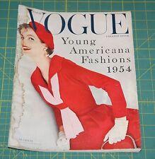 August Vogue 1954 Rare Vintage Vanity Fair Fashion Design Collection Magazine