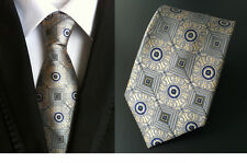 Italy Classic Mens Ties Silk Necktie Neck Tie Gold Gray Geometric Neckwear Party