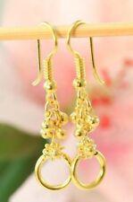 22K THAI BAHT DP YELLOW GOLD ~ PIKUL FLOWER BEADS CHANDELIER DANGLE EARRINGS