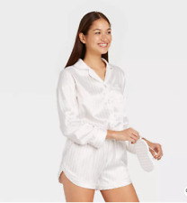 Women's 3pc Striped Satin Long Sleeve Top and Shorts Pajama Set with Eye Cover S