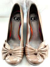 Gianni Bini Womens Wedge Heels Shoes Sz 8 Leather Gray Bow Vintage Style Slide