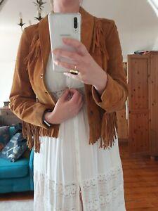 Vintage suede fringe jacket small
