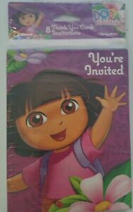 NEW Dora the Explorer 8 Invitations & Thank You Post Cards Birthday Party