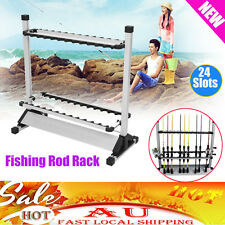 Portable Fishing Rod Rack Holder Stand 24 Slots Alloy Metallic Silver with Black