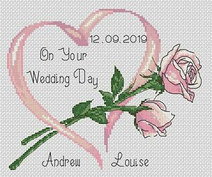 Cross stitch chart On Your Wedding Heart Day pink roses   FlowerPower37-uk