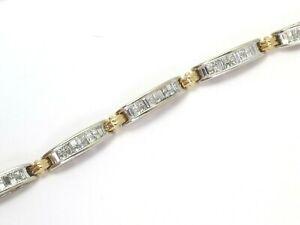 14k White & Yellow Gold Princess & Emerald Diamond Tennis Bracelet 4.32ct 17.7g