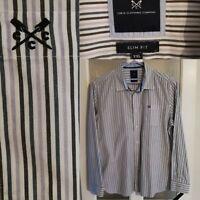 "Crew Clothing Striped Shirt XXL Chest 49"" Blue White L/Sleeve Mens 100% Cotton"