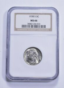 RARE - Graded MS66 1938-S Jefferson Nickel - Graded By NGC *352