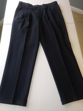 Brooks Brothers Dark Navy Pleated Front Trousers Size 34x30 Perfect Condition