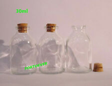 28pcs 30Ml small transparent glass barrel Corks bottle Wishing bottle