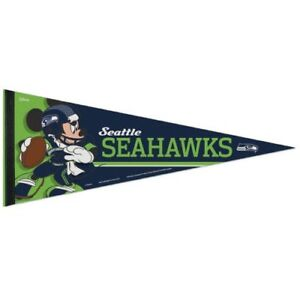 """SEATTLE SEAHAWKS MICKEY MOUSE DISNEY PREMIUM QUALITY PENNANT 12""""X30"""" BANNER"""