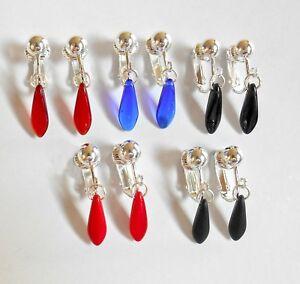 LOVELY CZECH GLASS MINI DROPS - Colour Coice -  CLIP ON EARRINGS (or hooks)