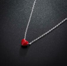 Adorable Simple Tiny Love Red Heart 925 Sterling Silver Pendant Choker Necklace