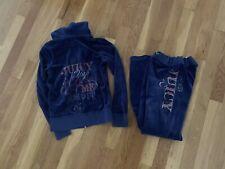 Girls Juicy Couture Velour Velvet Track Suit Jacket Pants Size 8 Blue