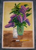 VINTAGE PRIMITIVE FOLK ART SHABBY LILAC FLOWERS CHIC PRIMITIVE W/C ART PAINTING