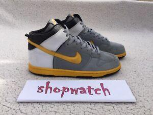 💥 VINTAGE 2007 Nike Dunk High Premium Yellow/Black Sneaker 306968-072 Size 11