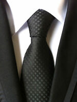 Classic Men's Wedding Tie Party JACQUARD WOVEN Tie Black Fashion Necktie